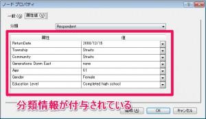 属性値表示のスクリーンショット