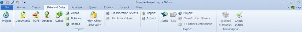 External Data タブ画面