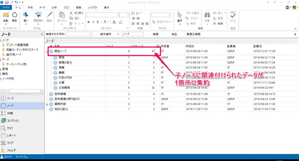 子ノードに含まれているリファレンスが集約されて上位ノードで参照できるように。